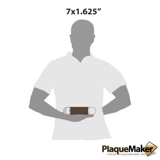 "7"" Dark Brown Leather Bottle Opener Size Comparison"