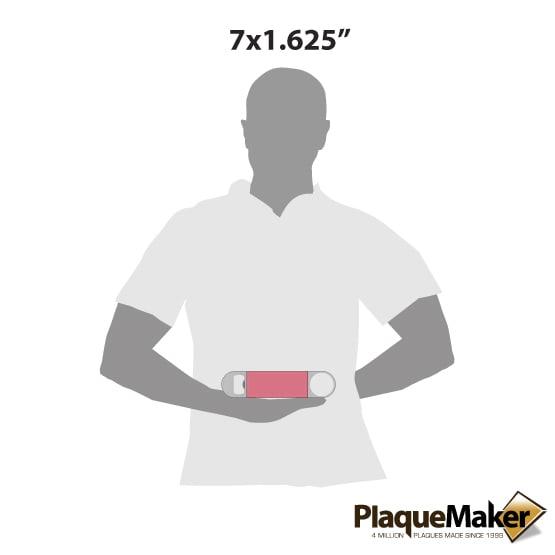"7"" Pink Leather Bottle Opener Size Comparison"