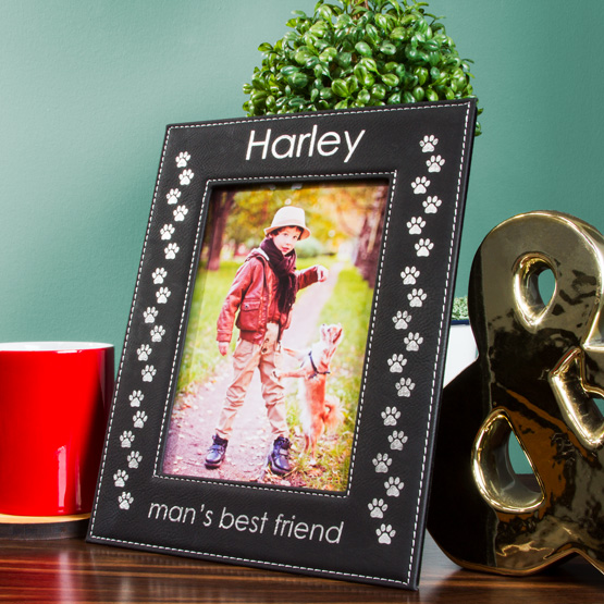 Faux Leather Black Picture Frame