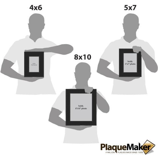 Black Leatherette Photo Frame Size Comparison