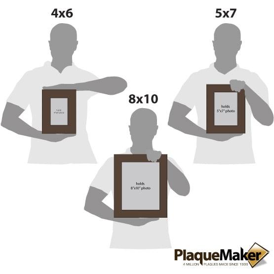 Dark Brown Leatherette Photo Frame Size Comparison