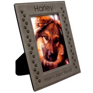 Gray Leatherette Photo Frame