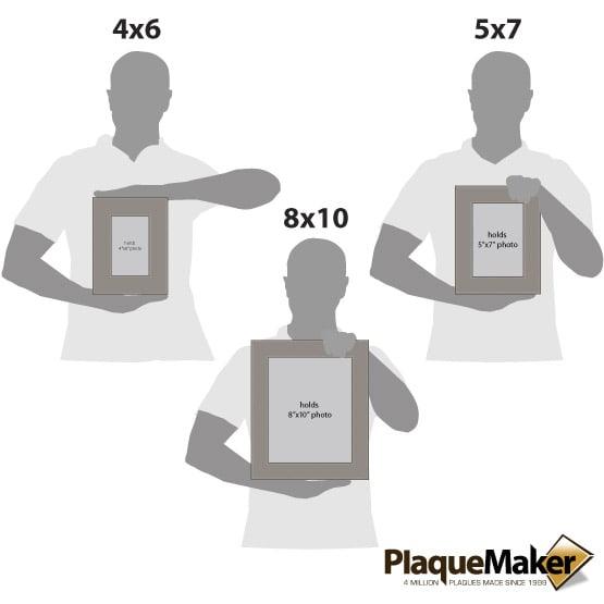 Gray Leatherette Photo Frame Size Comparison