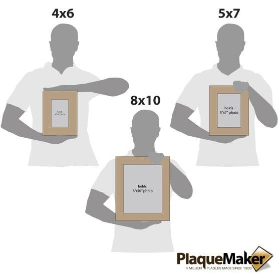 Light Brown Leatherette Photo Frame Size Comparison