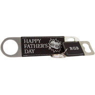 Black Leather Keychain and Bottle Opener Set