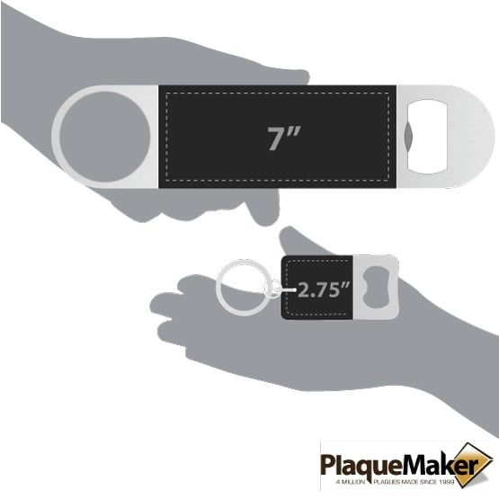 Black Leather Keychain and Bottle Opener Set Sizes