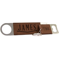 Dark Brown Leather Keychain and Bottle Opener Set