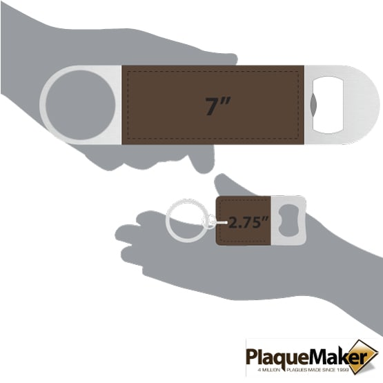 Dark Brown Leather Keychain and Bottle Opener Set Sizes