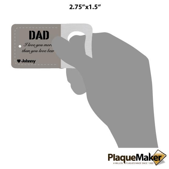 Dad Keychain Bottle Opener Size