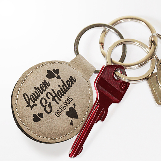Couples Oval Leatherette Keychain