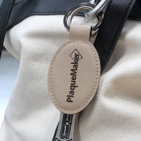 Light brown faux leather keychain
