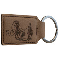 Dark brown faux leather rectangle keychain