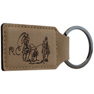 Light brown faux leather rectangle keychain