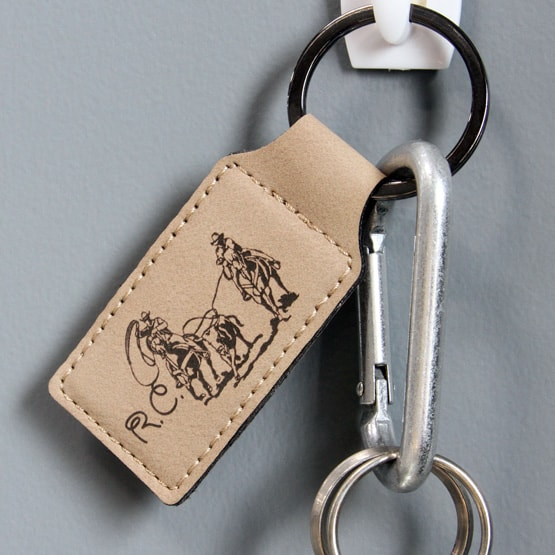 Faux Light Brown Leather Keychain
