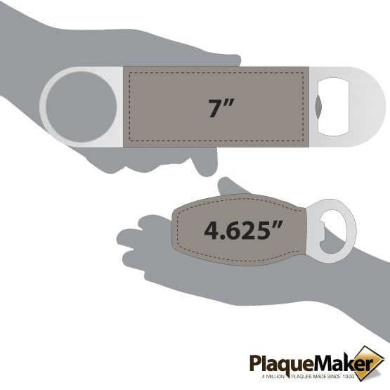 """Gray Magnetic and 7"""" Leather Bottle Opener Set Size Comparison"""