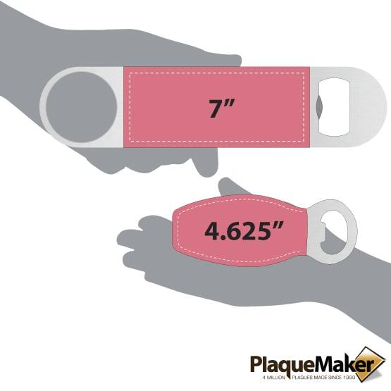 "Pink Magnetic and 7"" Leatherette Bottle Opener Bundle Size Comparison"