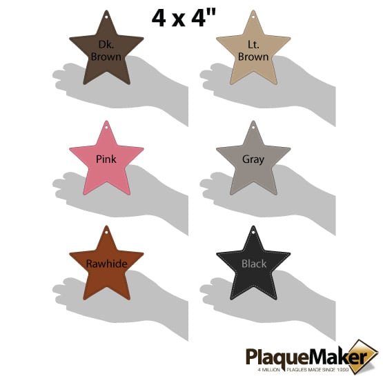 Personalized Christmas Ornament - Faux Leather Star Guide