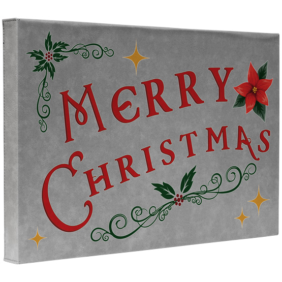 Merry Christmas Faux Leather Canvas