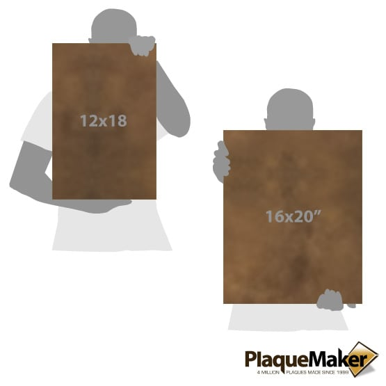 Wrapped Faux Leather Rustic with Silver Rectangle Canvas Size Guide