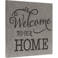 Wrapped Faux Leather Gray Square Canvas