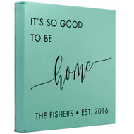 Faux Leather Teal Square Canvas