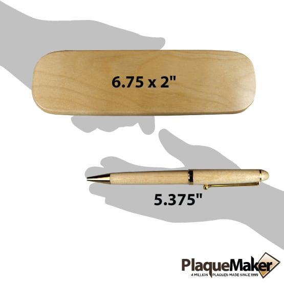 Custom Wood Pens - Maple Wood Size Guide