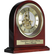 Rosewood Arch Clock with Gears