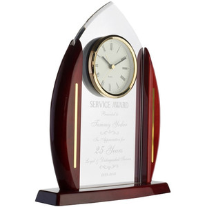 acrylic cathedral arch clock on rosewood