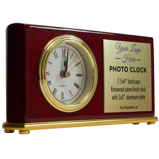 Rosewood landscape photo clock