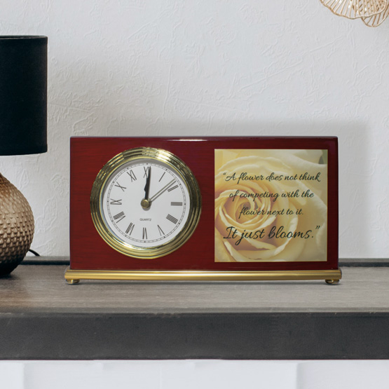 Photo Clock - Landscape Rosewood Piano Finish