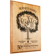 Solid Cherry Family Tree Plaque