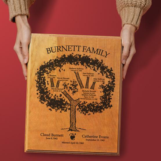 Solid Cherry Family Tree Plaque