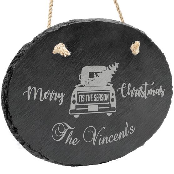 Christmas Truck Family Slate