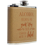 Leather-Wrapped Stainless Steel Flask - 6oz