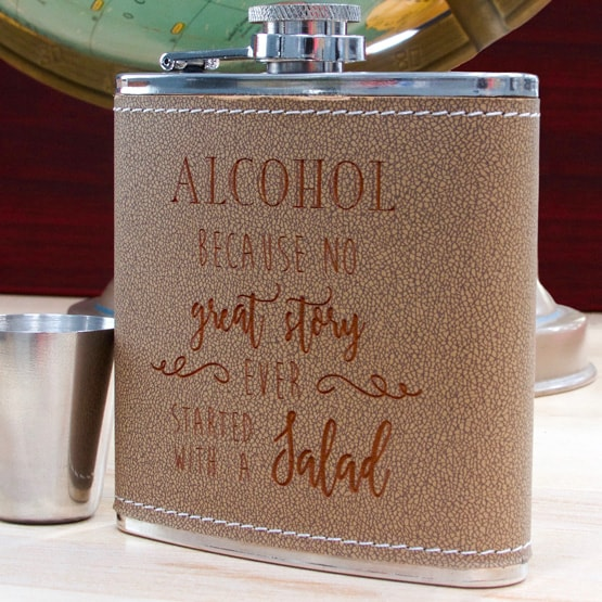 Leather-Wrapped Steel Flask