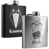 Groom and Bride Flask Set
