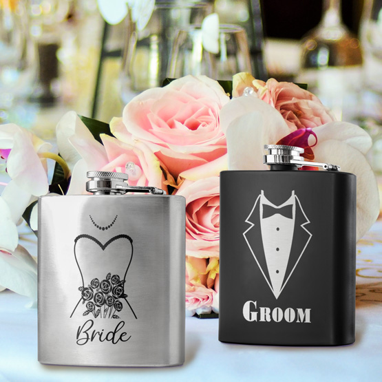 Groom and Bride Flask Set