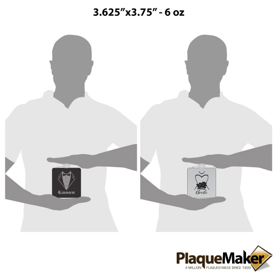Groom and Bride Flask Set Sizes