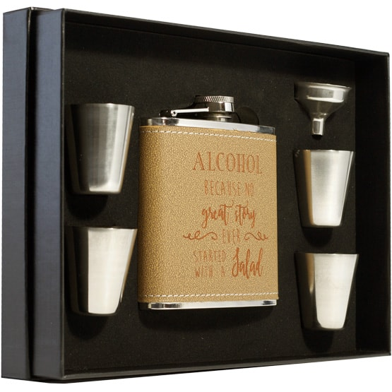 Leather-Wrapped Flask Set in Black Presentation Box
