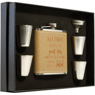 leather wrapped flask kit