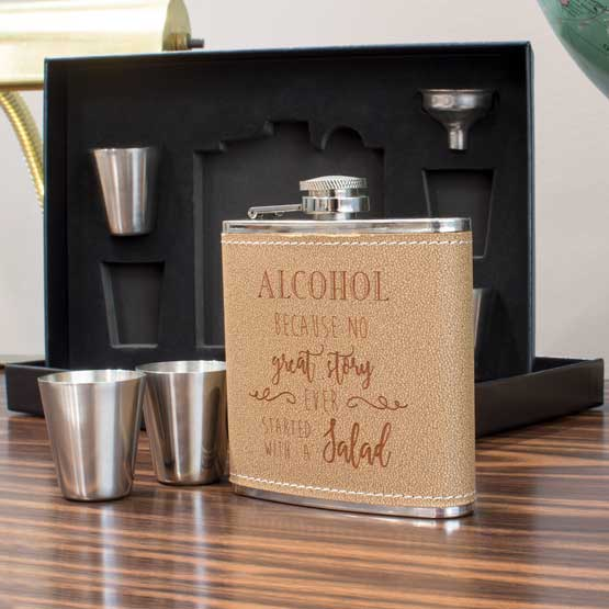 Leather-Wrapped Flask Set in Box