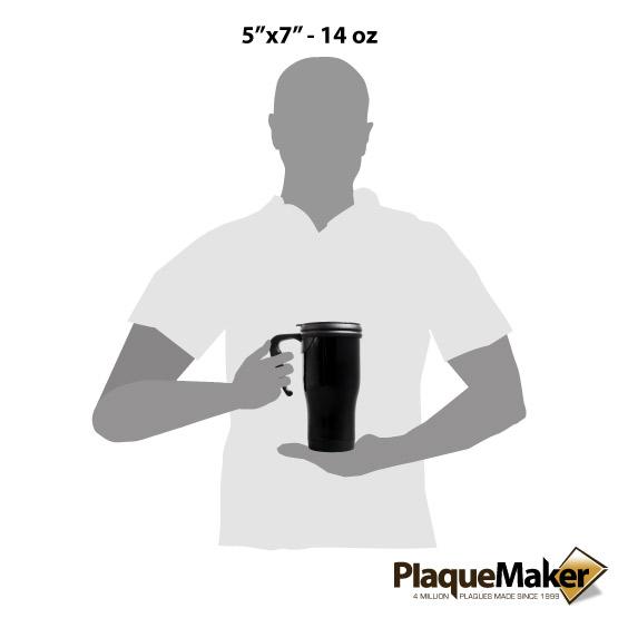 Black Travel Mug w/ Handle Sizes