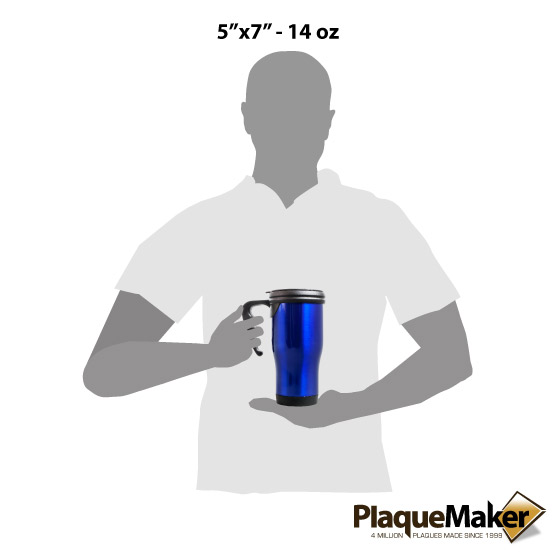 Blue Travel Mug w/Handle Sizes