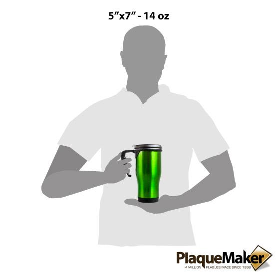 Green Travel Mug w/Handle Sizes