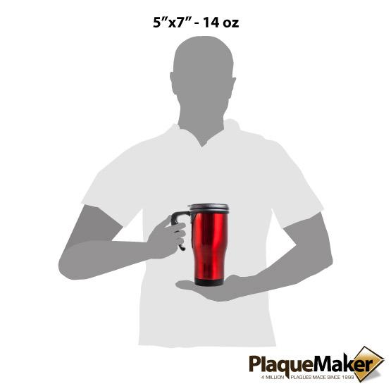 Red Travel Mug w/ Handle Sizes