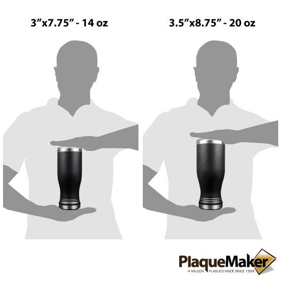 Black Pilsner Tumbler Sizes