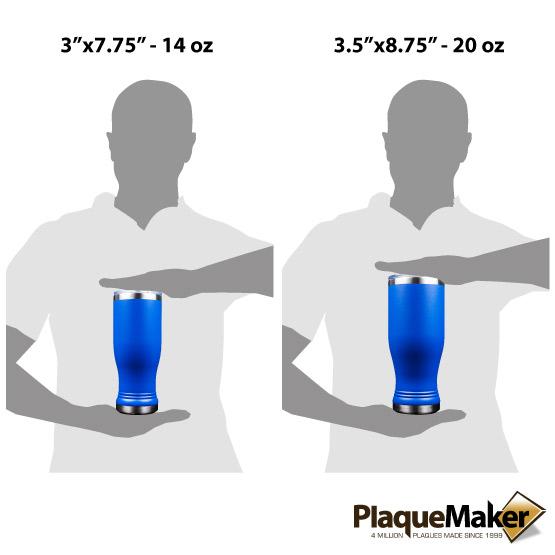 Royal Blue Pilsner Tumbler Sizes