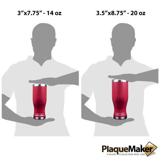 Maroon Pilsner Tumbler Sizes