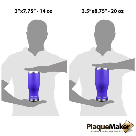 Purple Pilsner Tumbler Sizes