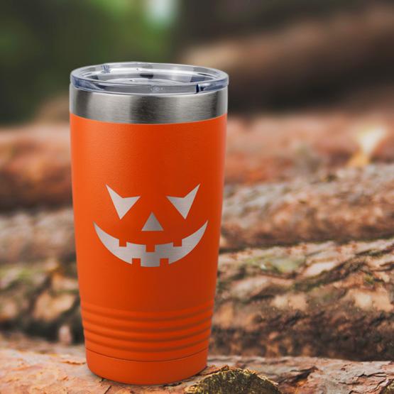 Custom Pumpkin Face Orange Tumbler